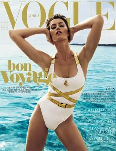 Who made  Gisele Bundchen's white one piece swimwear and gold belt that she wore on the cover of Vogue magazine?