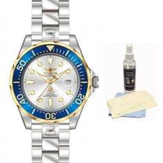 Invicta 13788 Men's Pro Diver Blue Gold Bezel Silver Dial Automatic Dive Watch with Ultimate Watch Care Kit
