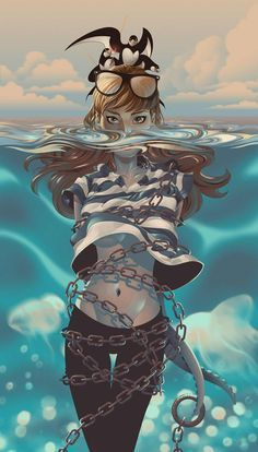 "saved s""Island"" - Alex Arizmendi {chained female tentacles underwater woman digital illustration} Inspiration Art, Character Inspiration, Character Art, Animation Character, Character Sketches, Creative Inspiration, Art Et Illustration, Character Illustration, Art Illustrations"