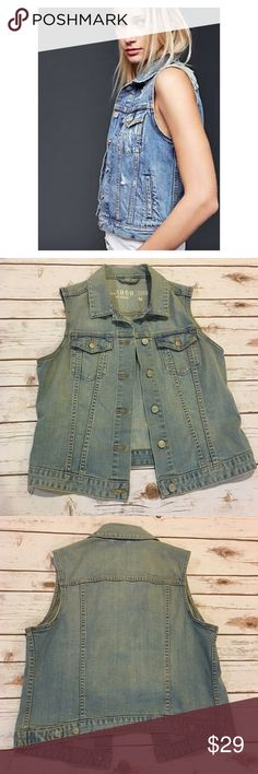 "Gap Light Wash Denim Vest Gap denim vest in light wash color. Worn twice. No flaws. Made of 99% cotton, 1% spandex. Measures from pit to pit 21"" and length is 20"". GAP Jackets & Coats Vests"