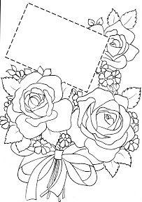 Motieven Bloemen - Rozen - Arie van der Linden - Picasa Web Albums Printable Flower Coloring Pages, Fall Coloring Pages, Coloring Books, Cute Flower Drawing, Parchment Cards, Wreath Drawing, Art Drawings For Kids, Stencil Templates, Beautiful Handmade Cards