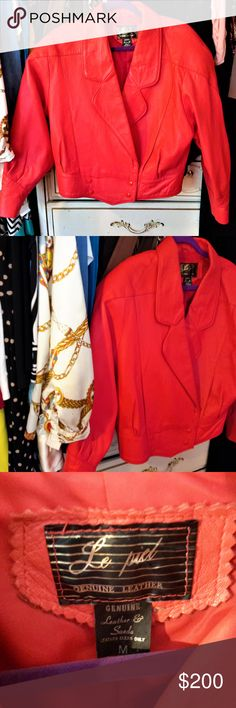 Red Leather Jacket size Medium Gorgeous jacket. Beautiful Red French made Size Medium Soft thick leather Le Piel Jackets & Coats