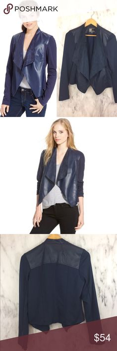 Kut from the kloth Ponte and Faux Leather Jacket Stitch fix piece, navy blue so cute- fits tts- maisha Ponte and Faux Leather Jacket- Lincoln Jacket EEEUC Draped jacket Kut from the Kloth Jackets & Coats