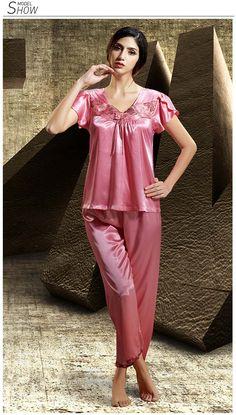Silk Blend Gorgeous Women Sleepwear Sleep Tops Shirt Pants Lace Pajama Sets  Gift f0c286108