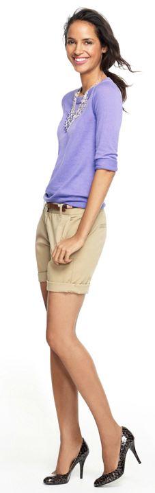 jcrew lilac sweater and khaki shorts