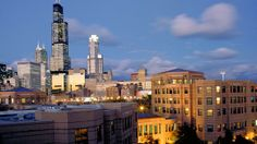 The downtown Chicago skyline and the campus of UIC (University of Illinois at Chicago)