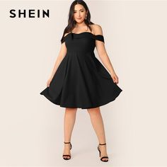 SHEIN Plus Size Off Shoulder Foldover Skater A Line Dress 2019 Women Summer Elegant Sweetheart High Waist Solid Plus Dresses - Mode & Fashion Online Shop ✔ Modest Dresses, Cheap Dresses, Plus Size Dresses, Nice Dresses, Clip In Extensions, Yoga Shorts, Curvy Outfits, Hot Outfits, Cocktail Dress Modest