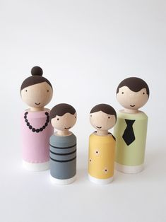 Kegelpoppetjes familie Pastel poppenhuis.