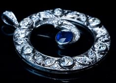Art Deco Diamond Sapphire Half Moon Pendant Necklace