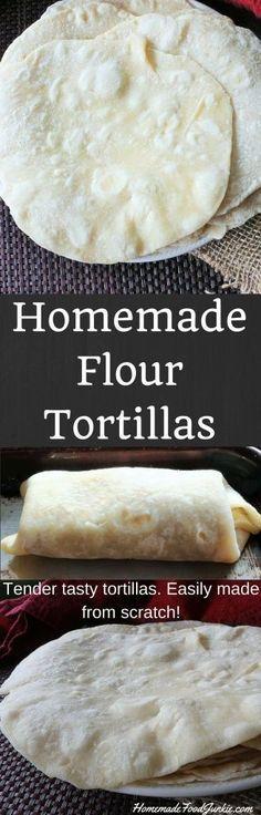 Homemade Flour Tortillas Tender tasty tortillas made from scratch http://HomemadeFoodJunkie.com