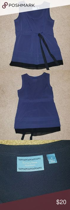 """NWOT Tiered Vera Wang Tank Blouse This navy tank features two navy tiers and one black one, an adjustable black waist tie.  Brand new, never worn Shoulder to hem 27"""" Simply Vera Vera Wang Tops Blouses"""