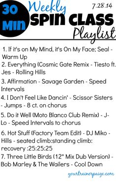 Weekly Spin Class/Workout Playlist