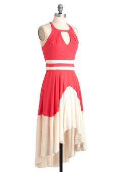 Off to the Graces Dress - Mid-length, White, Cutout, Casual, Sleeveless, Summer, High-Low Hem, Colorblocking, Pink, Daytime Party
