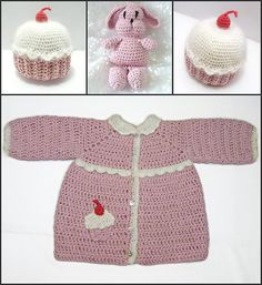 Ravelry: 687 Toddler Cupcake Coat and Hat with Matching Bunny pattern by Sandy Powers