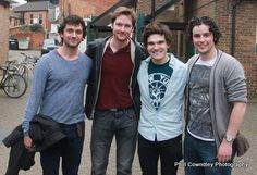 George Blagden, Killian Donnelly, Fra Fee, and some poor guy whose name I don't know (I feel terrible). It's Niall Sheehy (excuse the spelling) Theatre Geek, Musical Theatre, Theater, Les Miserables, Les Mis Cast, Beautiful Men, Beautiful People, Hadley Fraser, George Blagden