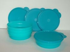 Tupperware Impressions Cereal Bowls /& Seals Purple Green Teal 16oz New Orange