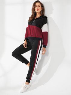 Zipper Up Hoodie Color Block Sweatpants Set Women Casual Clothes Autumn Clothing Two Piece Outfits Yellow XS Sporty Outfits, Fall Outfits, Fashion Outfits, Tracksuit Pants, Sweatpants, Cheap Hoodies, Women Sleeve, Two Piece Outfit, Long Sleeve Crop Top