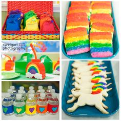 3rd Rainbow Unicorn Party- cookies, favor bags