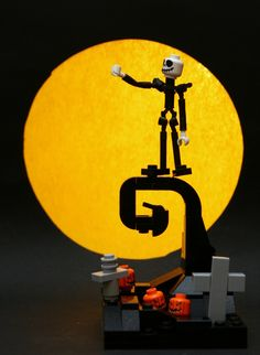 """xgreedyxflyx: thedailywhat: Lego Thing of the Day: Nightmare before Christmas Lego vignette by Stefan (brainbikerider). Yet year after year, it's the same routine And I grow so weary of the sound of screams And I, Jack, the Pumpkin King Have grown so tired of the same old thing. Winner: LGOe's """"""""Musical"""" vignette contest. [brothersbrick.]"""