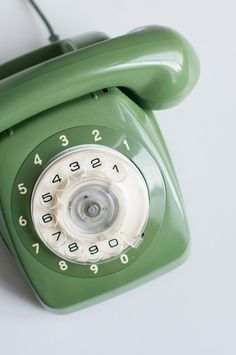 Vintage green rotary phone Retro phone by VintageBeautyArchive