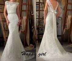 2015 Lace Wedding Dresses, White Wedding Dresses, Elegant Wedding Dresses, Floor-Length Wedding Dresses, Cheap Wedding Dress, Wedding Dresses 2015, Backless Wedding Dresses, Custom Wedding Dresses