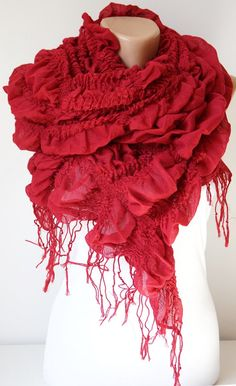 Your place to buy and sell all things handmade Ruffle Scarf, Lace Scarf, Red Scarves, Ruby Red, Dark Red, Tassel, Trending Outfits, Unique Jewelry, Handmade Gifts