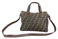 595b1c348557 Fendi    zucca Boston  Logo Jacquard Brown Canvas Satchel 41% off retail.  Tradesy
