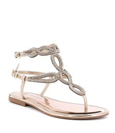 8bf1a707b Antonio Melani Walite Metallic Multi Color Rhinestone Embellished Flat  Sandals