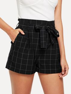 Boho Plaid Straight Leg Regular Elastic Waist Mid Waist Black Wide Waist Self Belted Grid Shorts with Belt Shorts Outfits Women, Short Outfits, Trendy Outfits, Cool Outfits, Summer Outfits, Fashion Outfits, Shorts For Summer, Dress Shorts Outfit, Fashionable Outfits