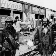 "Director Stanley Kubrick on the set of his ""Full Metal Jacket""."