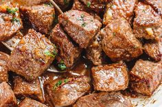 Garlic Butter Steak Bites - - Packed with flavor and so easy to make! These garlic butter steak bites are crazy delicious. - by dishes Garlic Butter Steak Bites Beef Recipes, Cooking Recipes, Healthy Recipes, Crockpot Steak Recipes, Steak Dinner Recipes, Sirloin Steak Recipes, Game Recipes, Lunch Recipes, Delicious Recipes