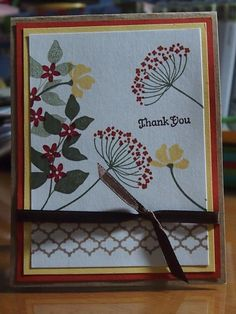 Hand Stamped Floral Thank You Card on Etsy, $3.49