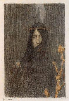 Henri Martin, Silence. 1894-1897. Lithograph.    [via sealmaiden]