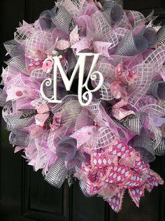 Large Mesh Wreath Baby Girl Shower Nursery by DesignTwentyNineSC