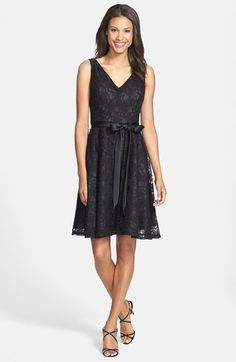 Marina Belted Lace Fit & Flare Dress