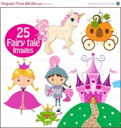 70% OFF SALE PRINCESS Fairy Tale- 25 piece clip art and papers set in high resolution, Png clip art files.