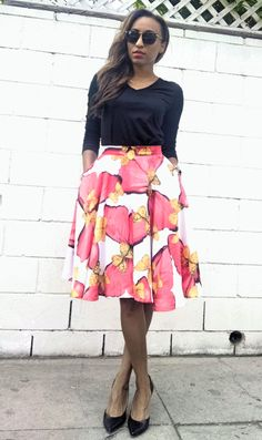 Red and Gold Butterfly Circle Skirt with Pockets by HouseOfLVA on Etsy