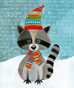 Image result for raccoon dressed for winter clipart