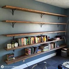 Diy Solid Wood Wall To Wall Shelves Living Room Family Room