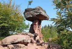 Devils Table~14m high sandstone rock in the Palatinate Forest near Hinterweidenthal, Rhineland