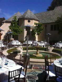 WEDDING RENTAL GREY STONE MANSION BEVERLY HILLS CA CHIAVARI CHAIRS TABLE LINEN HEATERS GLASSWARE