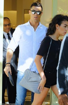 Casual chic: Known to be a fan of fashion, Cristiano meanwhile looked typically stylish in. Ronaldo Memes, Cristano Ronaldo, Soccer Player Hairstyles, Cristiano Ronaldo Style, Teaching Mens Fashion, Smart Outfit, Work Casual, Casual Chic, How To Make Shorts