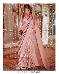 Riya Jain in Kalki dusty pink saree lehenga with draped pallo Dress Indian Style, Indian Dresses, Indian Outfits, Saree Designs Party Wear, Saree Blouse Designs, Trendy Sarees, Stylish Sarees, Lehenga, Shoes