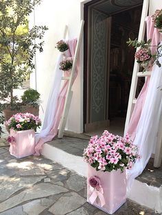 Diy Flowers, Flower Diy, Dusty Pink, Christening, Ladder Decor, Diy Crafts, Party, Wonderland, Alice
