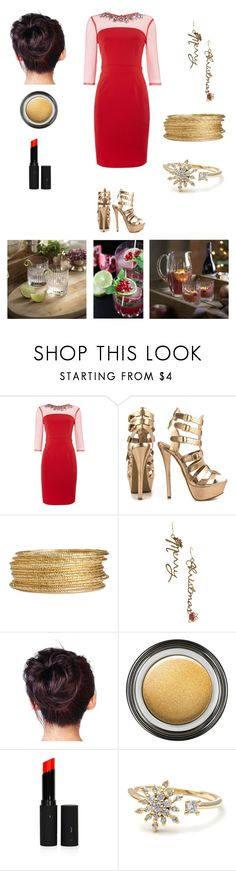 """""""Gryffindor Holiday Cocktail Party"""" by ubiquitous-merkaba ❤ liked on Polyvore featuring Little Mistress, JustFab, H&M, Giorgio Armani and Topshop"""