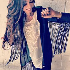 Chiffon fringe kimono and chiffon tank with leather trim design - now available to purchase