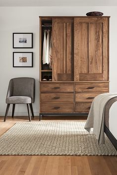 Out Linear armoire features a detachable top cabinet, making it easy to move or fit anywhere in your home.