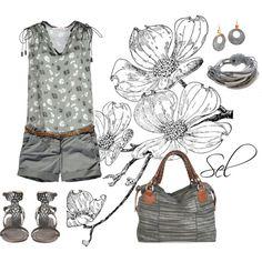 """grey flowers"" by selenitabr on Polyvore"
