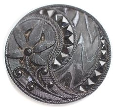 Black Glass Pictorial Button  Large by KPHoppe on Etsy  http://www.hoppeglass.com