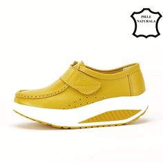 Mocasini galbeni din piele naturala Elvira Sneakers, Casual, Shoes, Fashion, Tennis, Moda, Slippers, Zapatos, Shoes Outlet